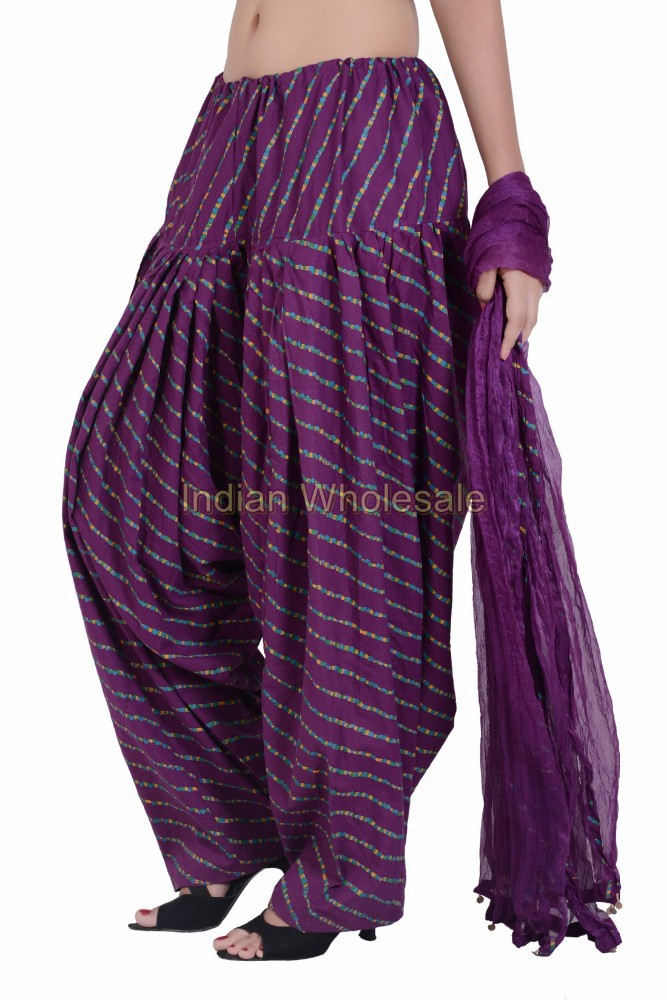 Indian Women Cotton Laheriya Printed Purple Color Patiala Salwar (Pants) with Matching Dupatta (Stole) Set