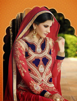 Red Color Long Anarkali zari border with Velvet applic work covered Semi Stitch Salwar Kameez