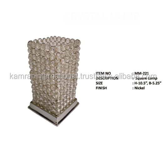 SQUARE SHAPE CRYSTAL BEADS SHADE MODERN SILVER TABLE LAMP
