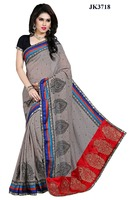 Traditional Indian Grey Color Bhagalpuri Silk Saree And Blouse