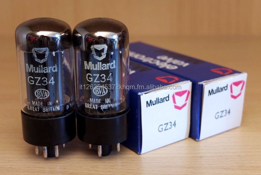 Mullard GZ34, pair of electron tubes made in UK, new in mint original boxes