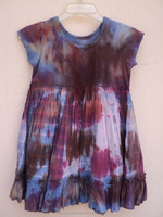 Multi colored cotton kids tie dye printed latest design pattern cap sleeve frock & dress