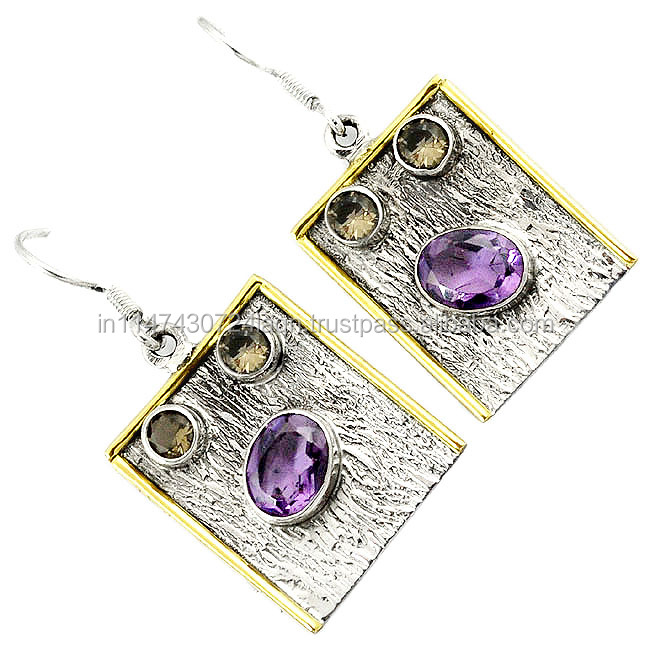 Natural Purple Amethyst 925 Silver Victorian Two Tone Dangle Earrings H71828