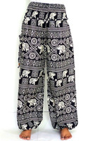 Black and White Elephant printed straight trouser-Indian Boho Hippie Elephant pant-Thai Style Elephant straight Pant wholesale