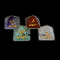 East-West-North-South Reiki Element Pyramids : Reiki Element Set : Natural Agate