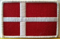 Denmark Flag Embroidery Iron-On Patch White Border