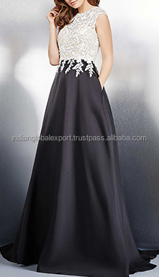 Black and Ivory Sleeveless Evening Dress Elegant party dress