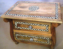 Traditional Indian Furniture 2 Drawers Bed Side Cabinet