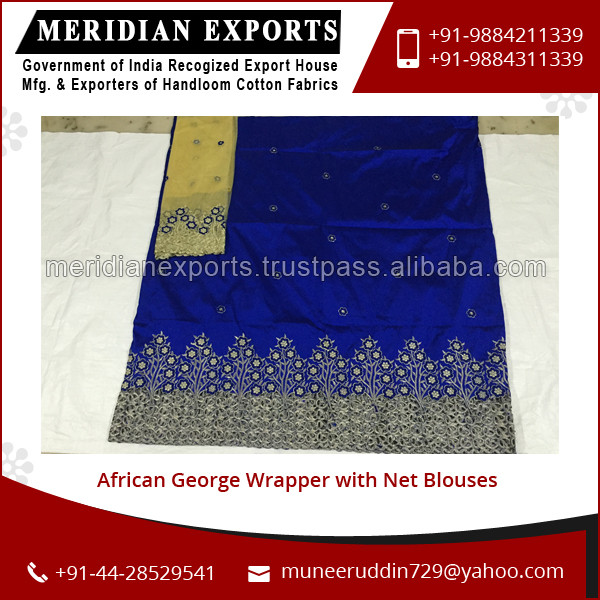 Stylish African George Wrapper with Net Blouses at Lowest Price