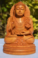 Abhaya Buddha Statue Wood Hand Carved Indian Handicrafts Blessing Buddhism Figure