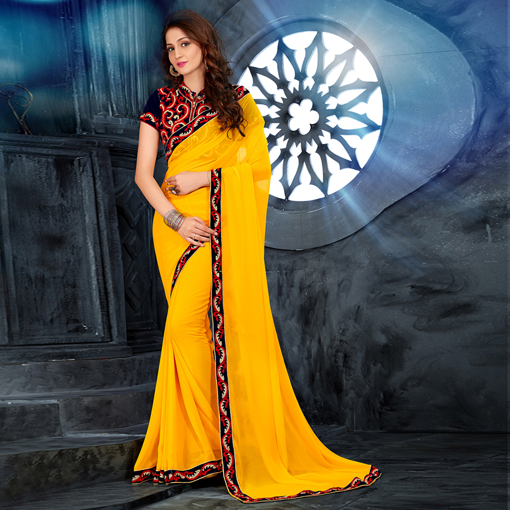 Yellow Colored Georgette Embroidered Saree With Blouse Pice-