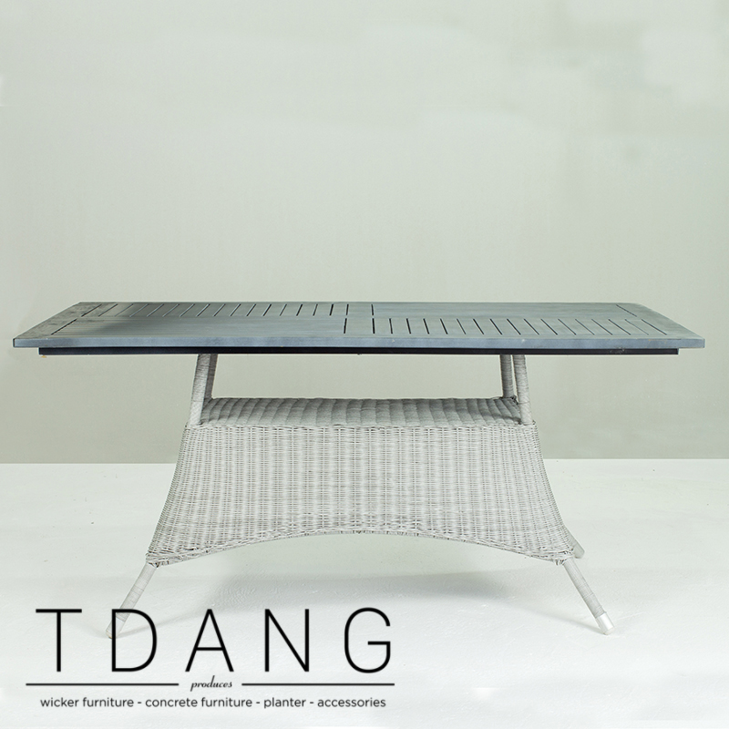 Pasadena Outdoor Grey Wicker Dining Table with Wooden Top