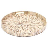 High end quality best selling special newest designed MOP inlay round serving Tray from Vietnam