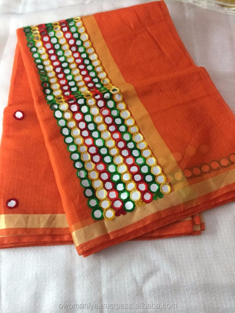 cotton Zari Border sarees With Foil Mirror Work With blouse