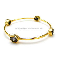 Amazing Four Round Black Rutile Micron Gold Plated Stacking Hot Bangles For Womens and Girls
