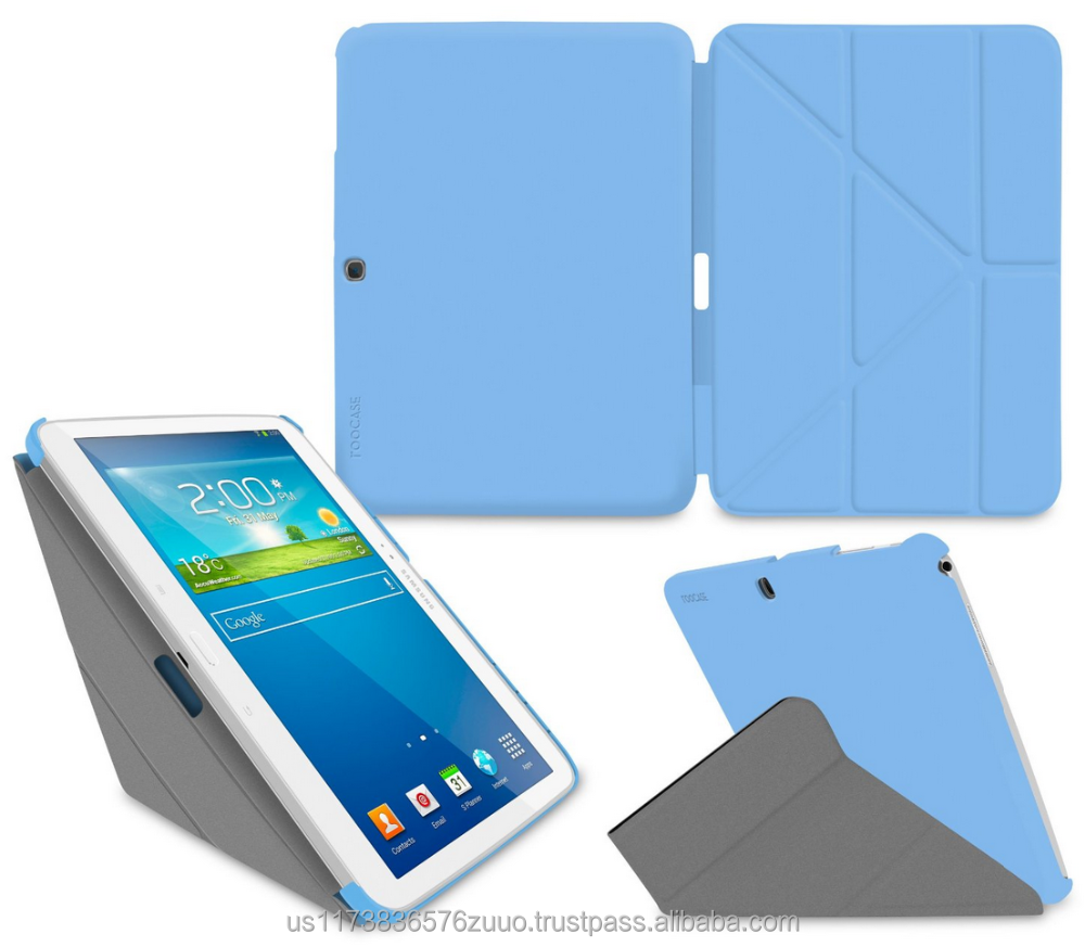 Ultra Slim Shell Lightweight Tablet Sleep / Wake Stand Folio Cover Case for Galaxy Tab 3 10.1 roocase (blue)