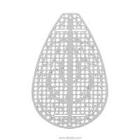 "Stainless Steel Embellishments Findings Teardrop Silver Tone Hollow Circle Pattern 50mm(2"") x 31mm(1 2/8""), 10 PCs"