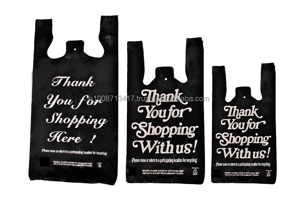 1/8 Medium Size White / Black HDPE Plastic T-Shirt Bags with 1 Color Thank You for Shopping Print