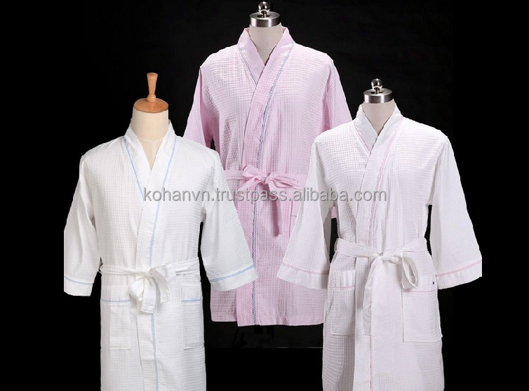 Waffle bath robe white and pink color 100% cotton