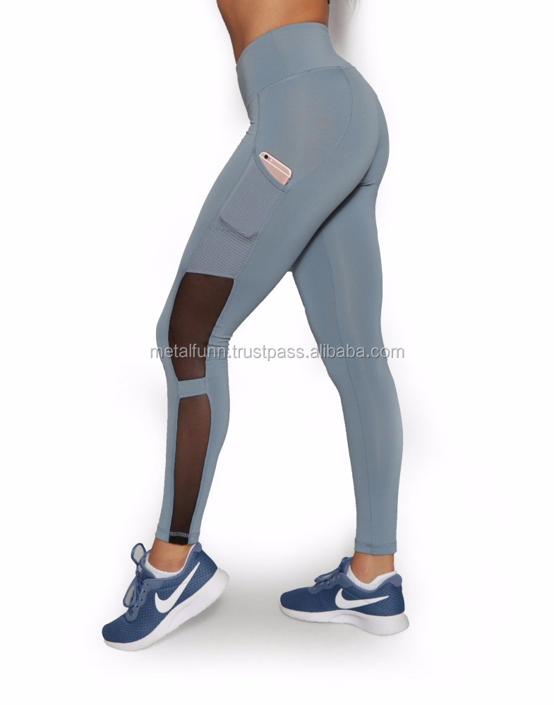 women compression yoga tights custom fitness gym leggings for women with phone pocket