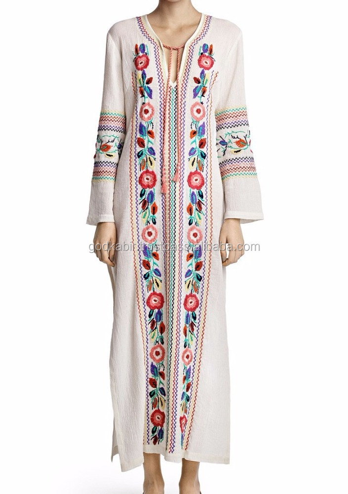 Ladies Fashion Elegant Cotton Bohemian w/Mexican Embroidery Ladies embroidery kaftan / tunic kaftan dress