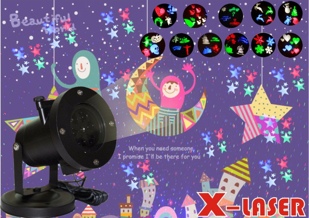 Christmas decoration light multi colors 12 units slide led christmas lights wholesale projector