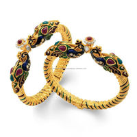 """ Amazing Peacock Gold Plated One Pair Of Kada for Women """
