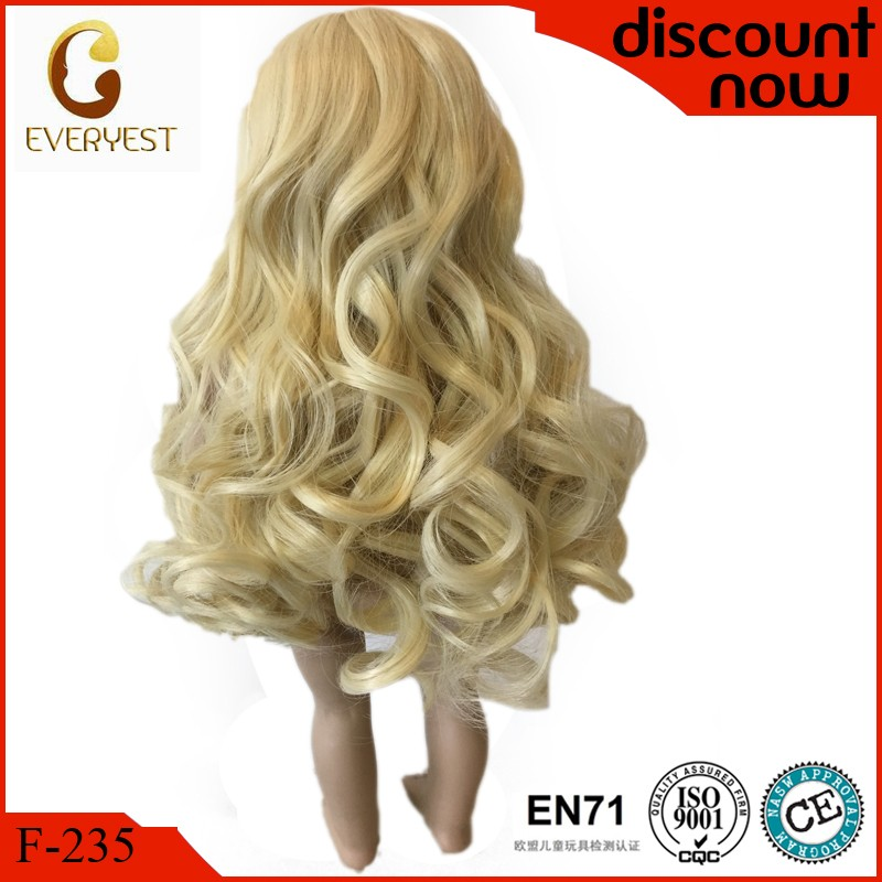 OEM design curly synthetic human hair doll wigs wholesale