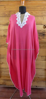 Vintage Caftan Jalabiya Dress Pink Cerise with White Crochet Trimming Free Size Galabeya