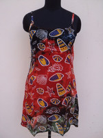 Beach wear ladies tie dye printed sleeveless short maxi & sun dresses in viscose fish printed fabric