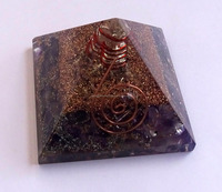 Amethyst Orgone Energy Pyramid With Crystal Point : Wholesale Orgonite Pyramid