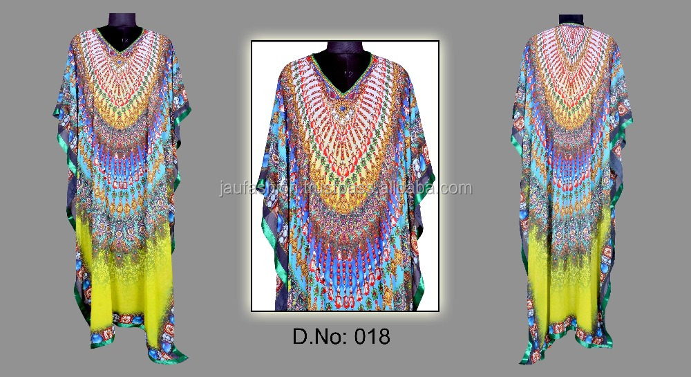 Embroidered Technics And White Cotton Fabric Type Indonesia Kaftan Wholesale / Digitally Printed silk crystal kaftan
