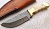 Fixed blade brass booster Custom Damascus Hunting knife Full tang