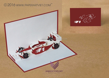 3d pop up card nicely car F1 , vehicle card