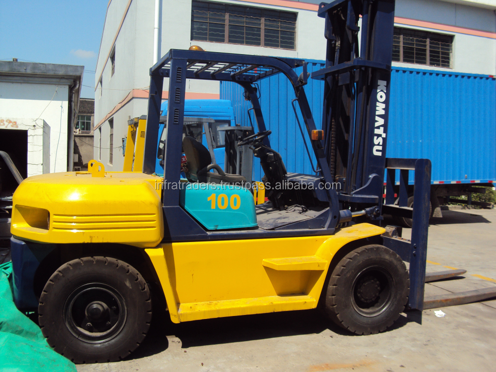 used 10t/10ton Komatsu forklift FD100,10 ton forklifts good condition,strong engine,running well,used Komatsu forklifts 5 ton