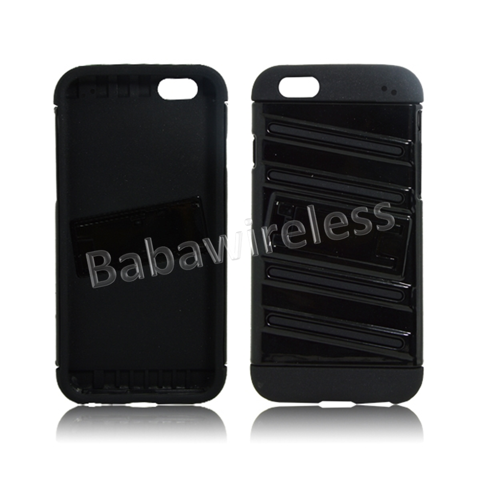 GLOSSY HYBRID ARMOR CASE WITH KICKSTAND FOR Apple iPhone 6