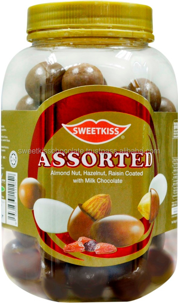 Sweetkiss Assorted Milk Chocolate with Almond nut and Raisin Coated and hazelnut