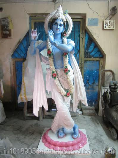 NATURAL LOOKING FIBERGLASS KRISHNA STATUES