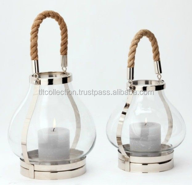 Steel Polished Lanterns With Rope Handle & Glass Hurricane lanterns
