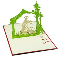 Amazing Christmas Pop up Cards /MC049-The Birthday of Jesu/3D handmade Vietnam card/3D paper cutting card for Holidays