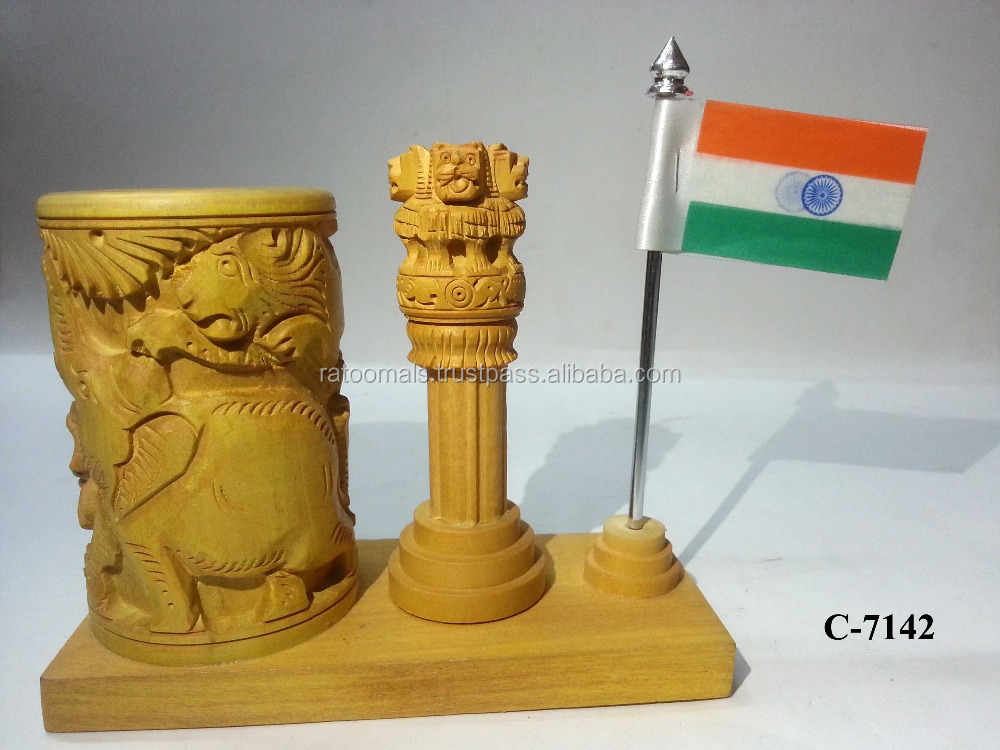 Wooden Pen Stand W/ Asoka Pillar & Flag