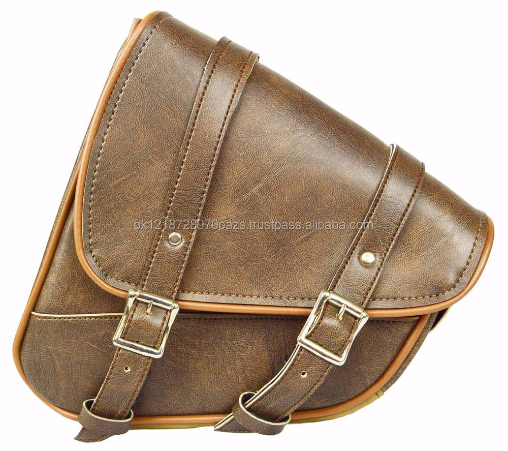 Leather biker Saddle Bag