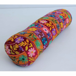 Yoga Accessories Velvet Embroidery with Filling Cylindrical Yoga Bolster Pillows