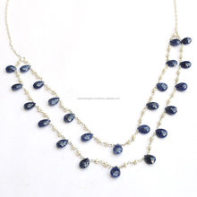 925 Sterling Silver Genuine Natural Tear Drop Blue Sapphire Pearl Gemstone Bead Faceted Briolette Double Layer Chain Necklace