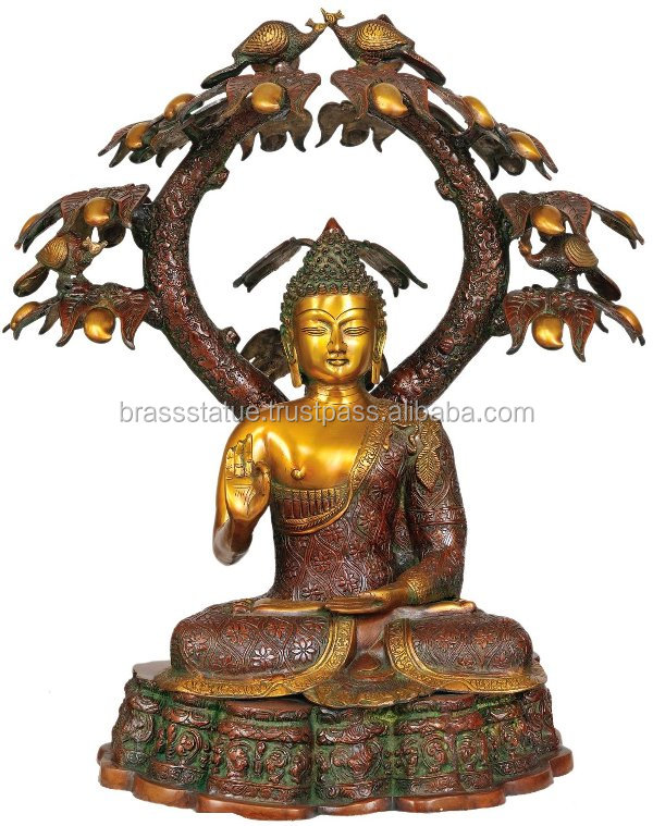 Lord Buddha Sitting Under Tree made in brass metal