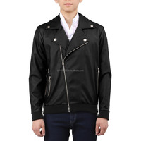 Men's Faux Leather Asymmetric Zip-up Rider Jacket