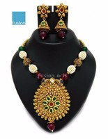Ethnic Pearl Crystal Necklace Jhumka Earring Set- Indian Traditional Jewelry - One Gram Gold Jewellery