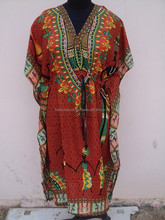 2015 new digital printed African polyester kaftan / most popular neck pattern woman kaftan
