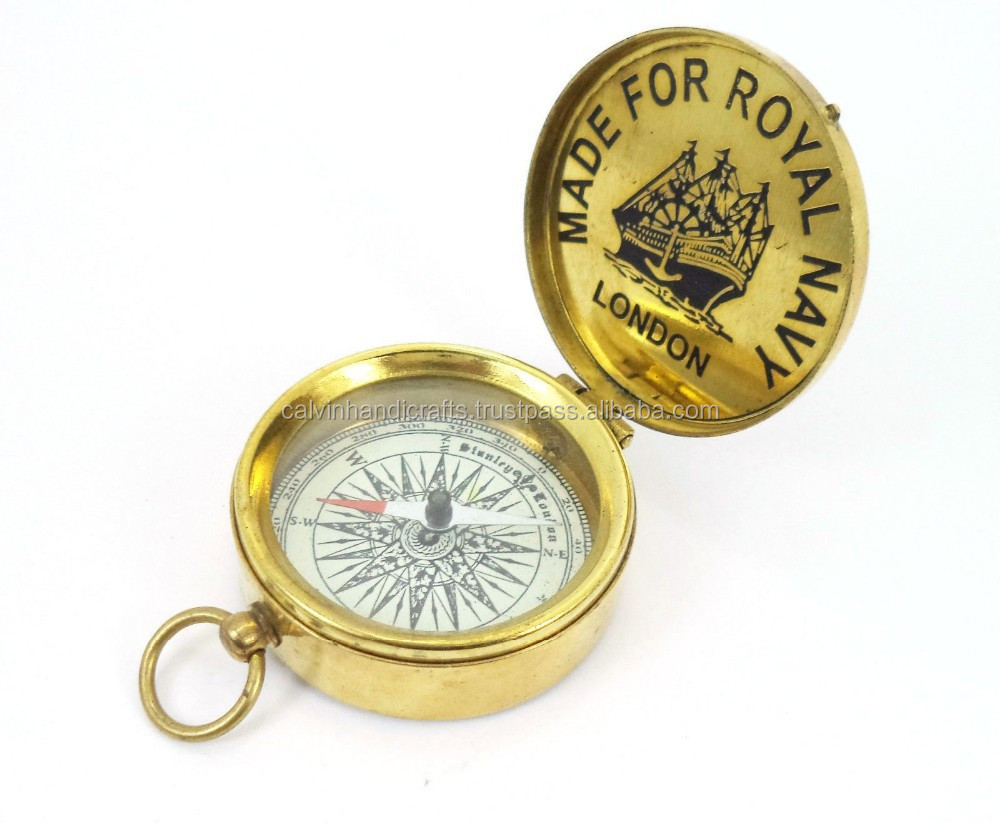 Brass Nautical vintage collectibles -ROYAL NAVY BRASS SUNDIAL COMPASS CHX130021