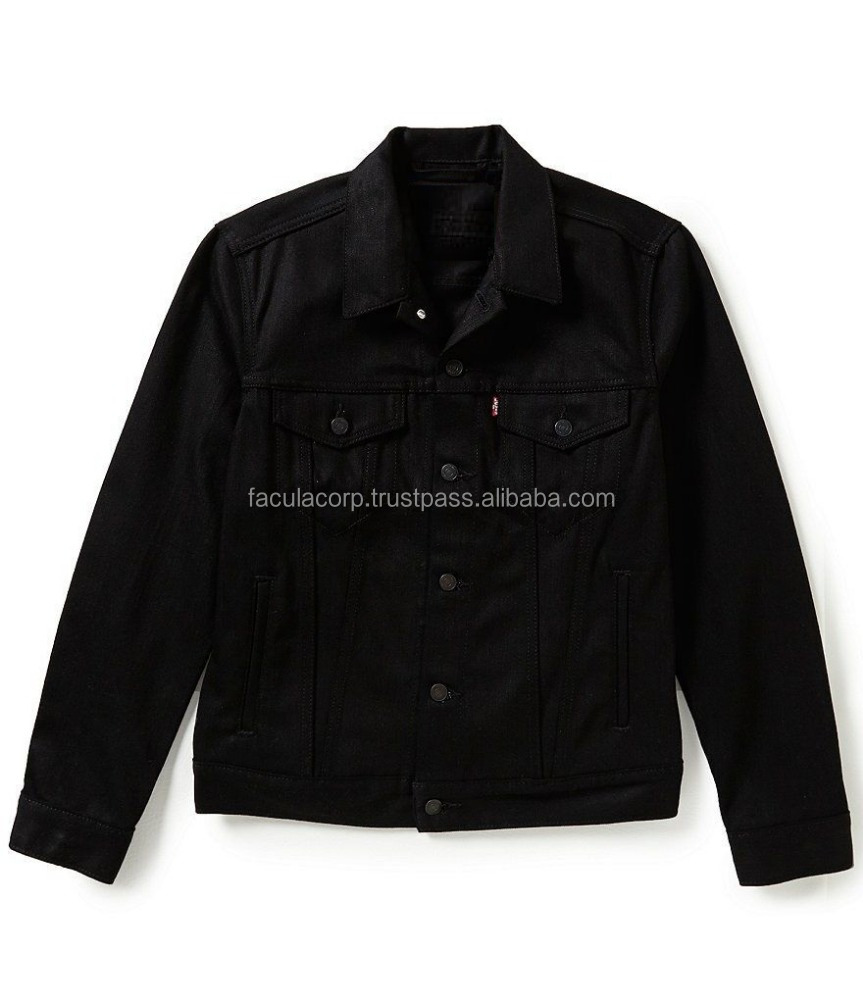 MEN'S COTTON BUTTON UP JACKET RELAXED FIT DENIM POLISH BLACK FC-1528